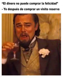 meme Leonardo DiCaprio. La felicidad cuando compras vino