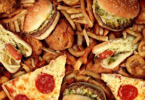 pizza y hamburguesa